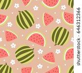 watermelon seamless pattern... | Shutterstock .eps vector #646312366
