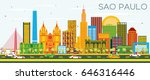 sao paulo skyline with color... | Shutterstock .eps vector #646316446