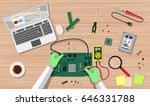 hands of engineer with digital... | Shutterstock .eps vector #646331788