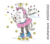 cute roller skater unicorn with ... | Shutterstock .eps vector #646333162