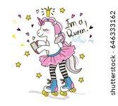 Cute Roller Skater Unicorn Wit...