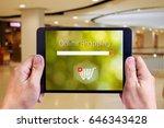 online shopping concept on... | Shutterstock . vector #646343428