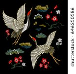 Stock vector japanese white cranes with red flowers embroidery vector 646350586