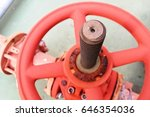 Close Up Big Red Valve With...