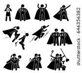 female superhero in stick... | Shutterstock . vector #646356382