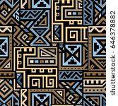creative ethnic style square... | Shutterstock .eps vector #646378882