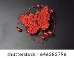 embroidered pearl butterfly... | Shutterstock . vector #646383796