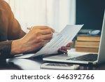 young business man hand writing ... | Shutterstock . vector #646392766