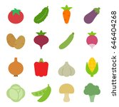 set of vegetables icons. flat...   Shutterstock .eps vector #646404268