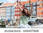 excited tourist woman with her... | Shutterstock . vector #646407868