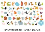 big vector set of animals. cow  ...