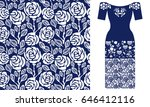 blue and white floral pattern... | Shutterstock .eps vector #646412116