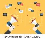 hands holding a megaphones.... | Shutterstock .eps vector #646422292