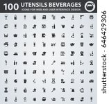 utensils beverages icons for... | Shutterstock .eps vector #646429306
