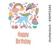 happy birthday holiday card...   Shutterstock .eps vector #646441666