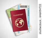 passport with airplane ticket... | Shutterstock . vector #646454722
