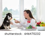 smiling young woman giving... | Shutterstock . vector #646470232