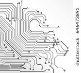 circuit board black line on... | Shutterstock .eps vector #646473892