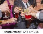 group of people toasting at a... | Shutterstock . vector #646474216