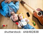 father and son with smartphone... | Shutterstock . vector #646482838