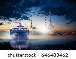 ship in dock import export... | Shutterstock . vector #646483462