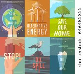 set of  ecology posters on the... | Shutterstock .eps vector #646485355