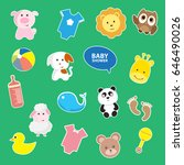 baby shower sticker icon set.... | Shutterstock .eps vector #646490026