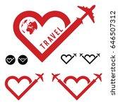 travel love in heart icon set... | Shutterstock .eps vector #646507312