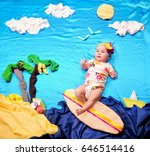 infant baby girl on a tiny... | Shutterstock . vector #646514416