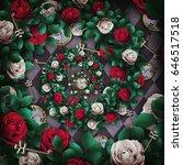 alice in wonderland. red  roses ... | Shutterstock . vector #646517518