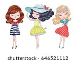 cute girls vector design set | Shutterstock .eps vector #646521112