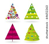 Four Christmas Tree In Vector...