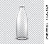 transparent glass bottle  | Shutterstock .eps vector #646525825