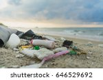 garbage on the beach | Shutterstock . vector #646529692