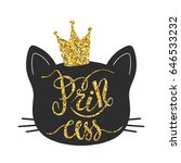 princess cat typography with... | Shutterstock .eps vector #646533232