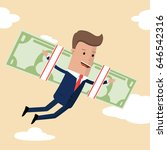 businessman on the dollar wings.... | Shutterstock .eps vector #646542316