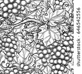 seamless pattern with grapes....   Shutterstock .eps vector #646542556
