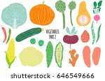 hand drawn vegetables  isolated ... | Shutterstock .eps vector #646549666