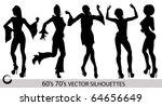retro dancing girl silhouettes | Shutterstock .eps vector #64656649
