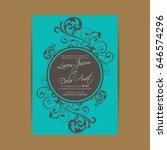 wedding vintage invitation card ... | Shutterstock .eps vector #646574296