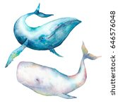 watercolor whale set. hand... | Shutterstock . vector #646576048