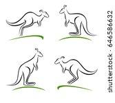 kangaroo set. vector | Shutterstock .eps vector #646586632