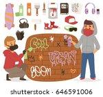 graffiti yarnbombing artist man ... | Shutterstock .eps vector #646591006