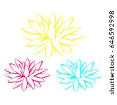 colorful lotus flowers. vector... | Shutterstock .eps vector #646592998