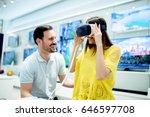 smiling friends buying 3d vr... | Shutterstock . vector #646597708