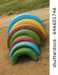 multi colored wheels on the... | Shutterstock . vector #646601746
