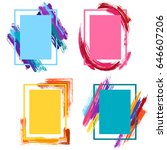 borders with pink  blue and... | Shutterstock .eps vector #646607206