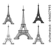 eiffel tower icons isolated on... | Shutterstock .eps vector #646607995