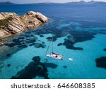 aerial view of a boat in front... | Shutterstock . vector #646608385