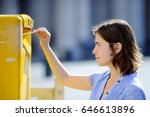 the young girl drops a postcard ... | Shutterstock . vector #646613896